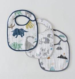 Little Unicorn Cotton Muslin bib 3 pack Dino set