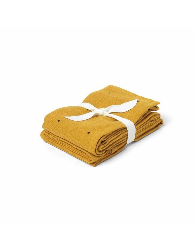 Liewood Hannah tetra doeken 2 pack classic dot mustard