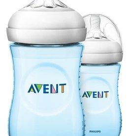 Avent Zuigfles Natural 2.0 Duo transparant/blauw 260 ml - 2 stuks