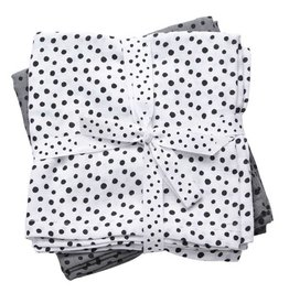 Done by Deer Burp cloth, 2-pack, Happy dots, grey