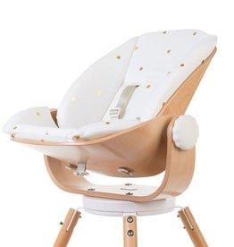 Childhome EVOLU NEWBORN SEAT NAT/WIT (voor Evolu 2+ ONE80°) met kussen gold dots