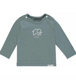 Noppies Tshirt lange mauwen dark green met olifantje