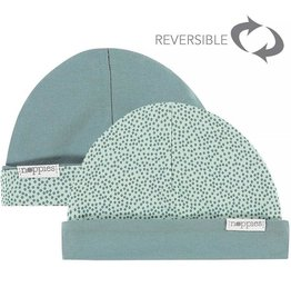 Noppies Mutsje grey mint met bolletjes reversible