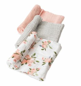 Little Unicorn Cotton Muslin Swaddle 3 pack Watercolor roses