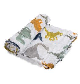 Little Unicorn Cotton muslin swaddle single Dino Friends