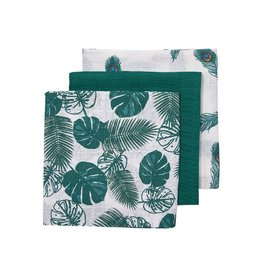 Meyco Tropical leaves peacock 3pack swaddle