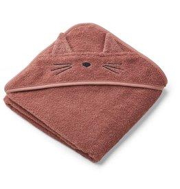Liewood Albert hooded towel cat dark rose