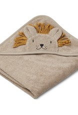 Liewood Albert hooded towel lion stone beige