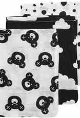 Meyco Tetra washandjes Bear/black/dots (3 pack)