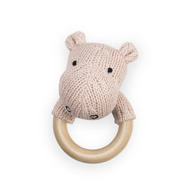 Jollein Rammelaar bijtring Ø 7cm Soft knit hippo creamy peach