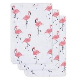 Jollein Hydrofiel washandje flamingo 3pack