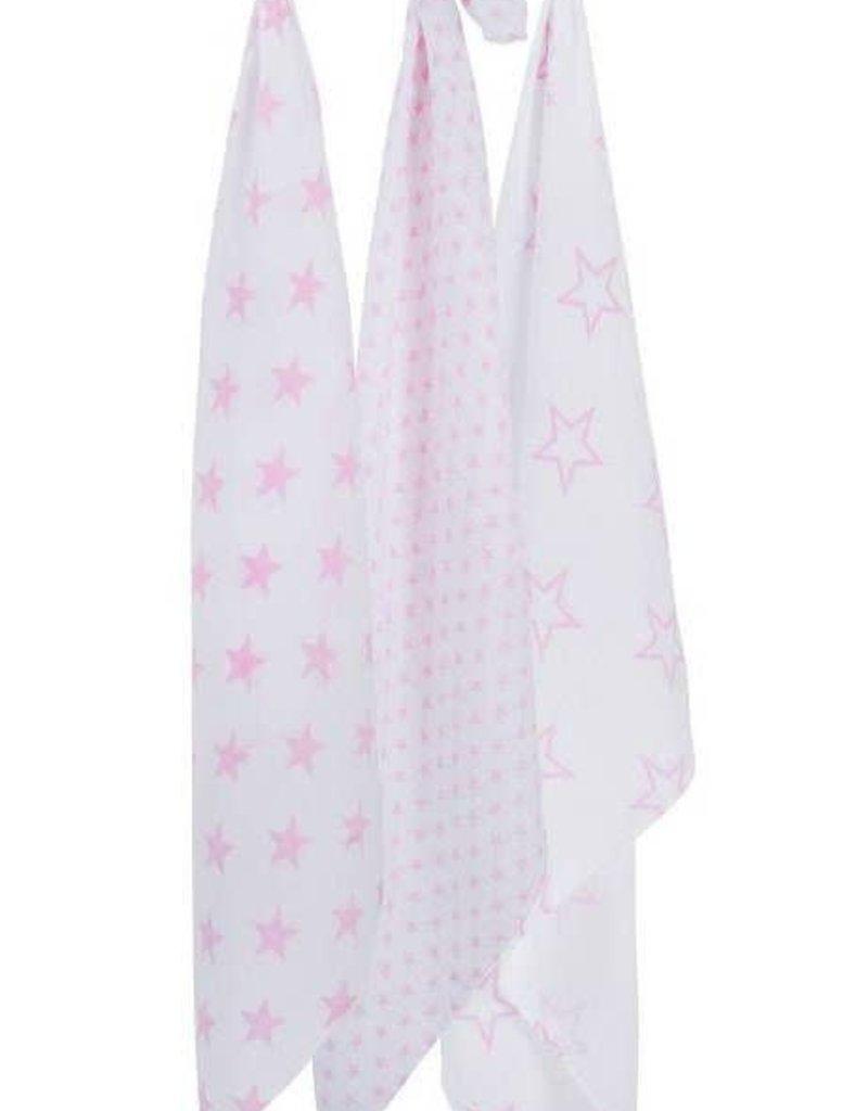 Jollein Hydrofiel multidoek 115x115cm Little star pink (3pack)