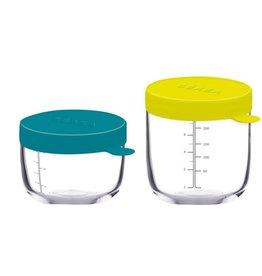 Beaba Set van 2 glazen potjes 150/250 ml groen/geel