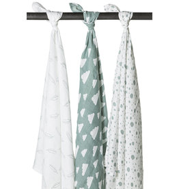 Meyco Swaddles 3pack feathers-clouds-dots stone green/wit