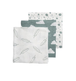 Meyco Washandjes 3pack feathers-clouds-dots stone green/wit