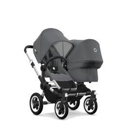 Bugaboo Donkey 2 Twin Kinderwagen met stoel en wieg - Zonnekap in gemêleerd grijs, gemêleerd grijze stof, zwart onderstel