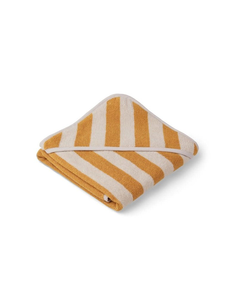 Liewood Alba Hooded Baby Towel - Y/D stripe: Yellow mellow/sandy