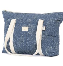 Nobodinoz Paris maternity bag 34x50x12 gold bubble/ night blue