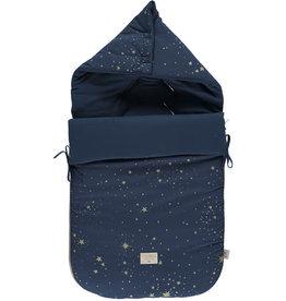 Nobodinoz Passegiata footmuff 90x46x6 gold stella/ night blue