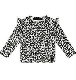 Your wishes Ruffle shoulder top leopard camo