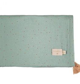 Nobodinoz Treasure zomerdeken 100 x 70 toffee sweet dots/eden green