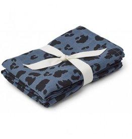 Liewood Hannah Muslin Cloth Print 2 Pack Leo Blue Wave