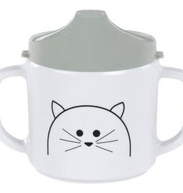 Lassig Cup Melamine/Silicone Little Chums Cat 2-Handle cup with lid