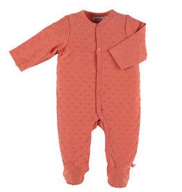 Noukies Pyjama's brique kleur met bolletjes