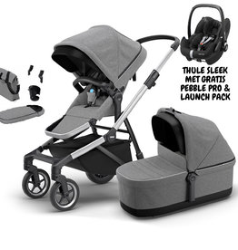 Thule Thule Sleek alu/grey melange (incl. pebble pro + Thule launch pack)