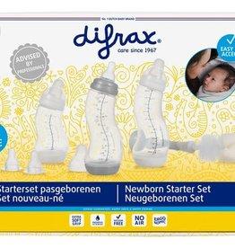 Difrax Difrax Starterset met flessenborstel Newborn wit/grijs