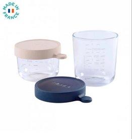 Beaba Set van 2 glazen potjes  150/250 ml bleu marine/roos