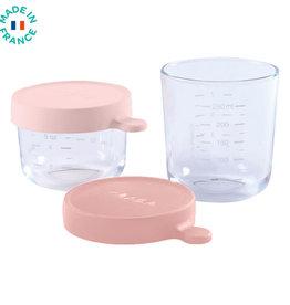 Beaba Set van 2 glazen potjes 150/250 ml licht rose/donker roze