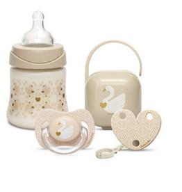 Suavinex Gift Set Swan - Sili. - Bottle 150ml 3P - Soother 0-6m Flat + Clip + Holder