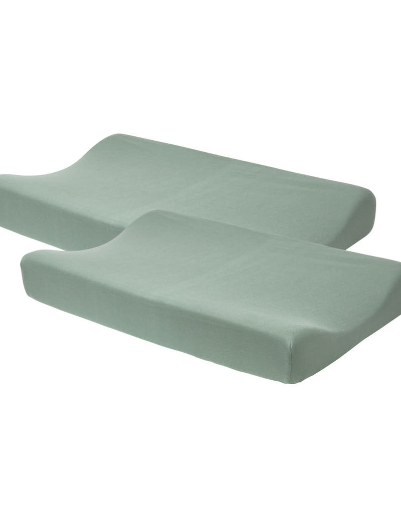 Meyco Waskussenhoes set van 2 basic jersey stone green