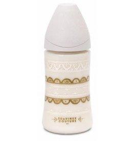 Suavinex Silicone fles 270ml normal - snelle melktoevoer -TU - 0m+ white indian