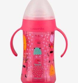 Suavinex Beker flesje met houders roze 4m+