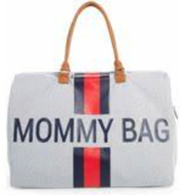 Childhome Mommy Bag Large Canvas Grey Stripes Red/Blue