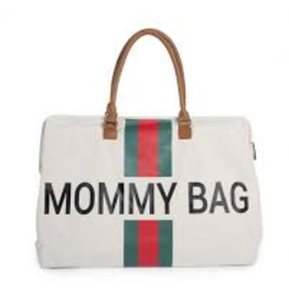 Mommy Bag Large Canvas Off White Stripes Green/Red