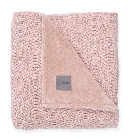 Jollein Wieg Deken River Knit 75x100cm - Pale Pink/Coral Fleece