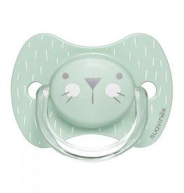 Suavinex Suavinex Sucette en silicone + 18m visage de lapin normal menthe