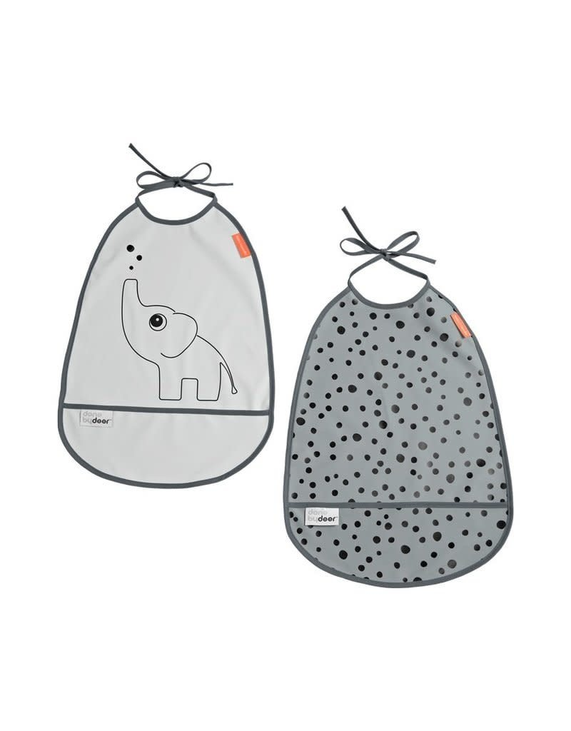 Done by Deer Bib 2-pack, Elphee, grey tones