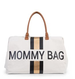 Childhome MOMMY BAG GROOT CANVAS OFF WHITE STRIPES BLACK/GOLD