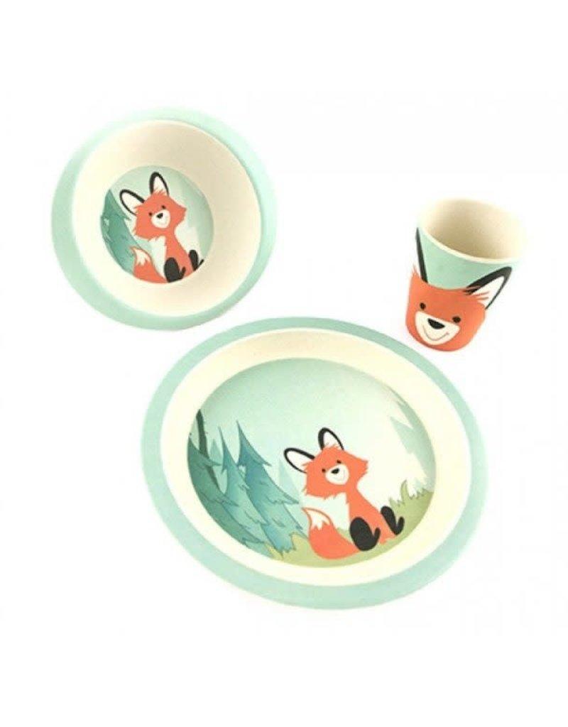 Yunaa Kids Service de vaisselle pour enfants en bambou renard