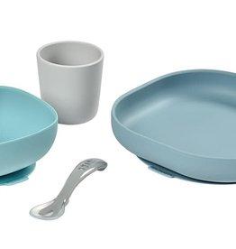 Béaba Set de salle à manger en silicone 4 pièces bleu