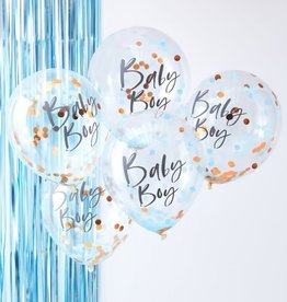 Ginger Ray Confetti balloons rose gold baby boy 5x