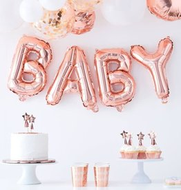 Oh Baby! Ginger Ray Balloon bunting rose fold 'baby'