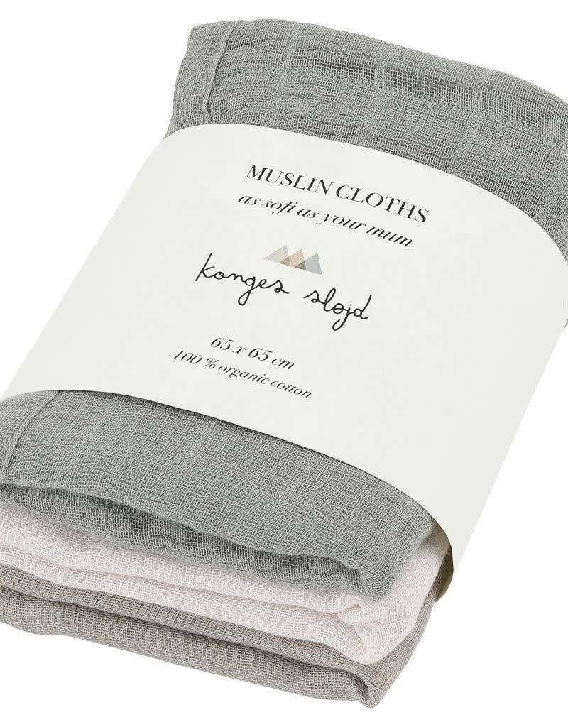Konges Sløjd 3 pack muslin cloth limestone