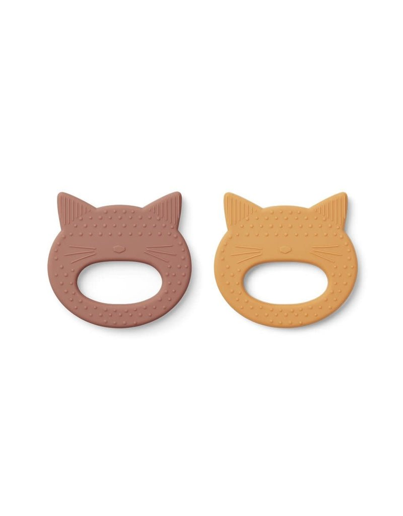 Liewood Geo Teether 2 Pack - Cat rose/yellow mellow