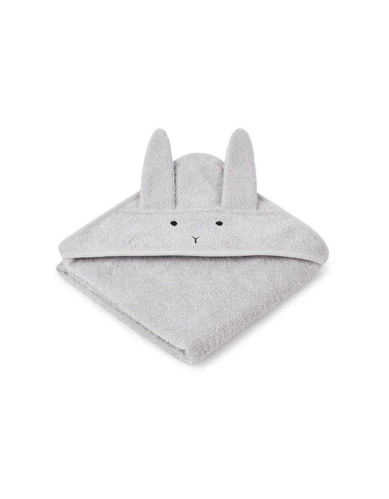 Liewood Albert Hooded Baby Towel - Rabbit dumbo grey