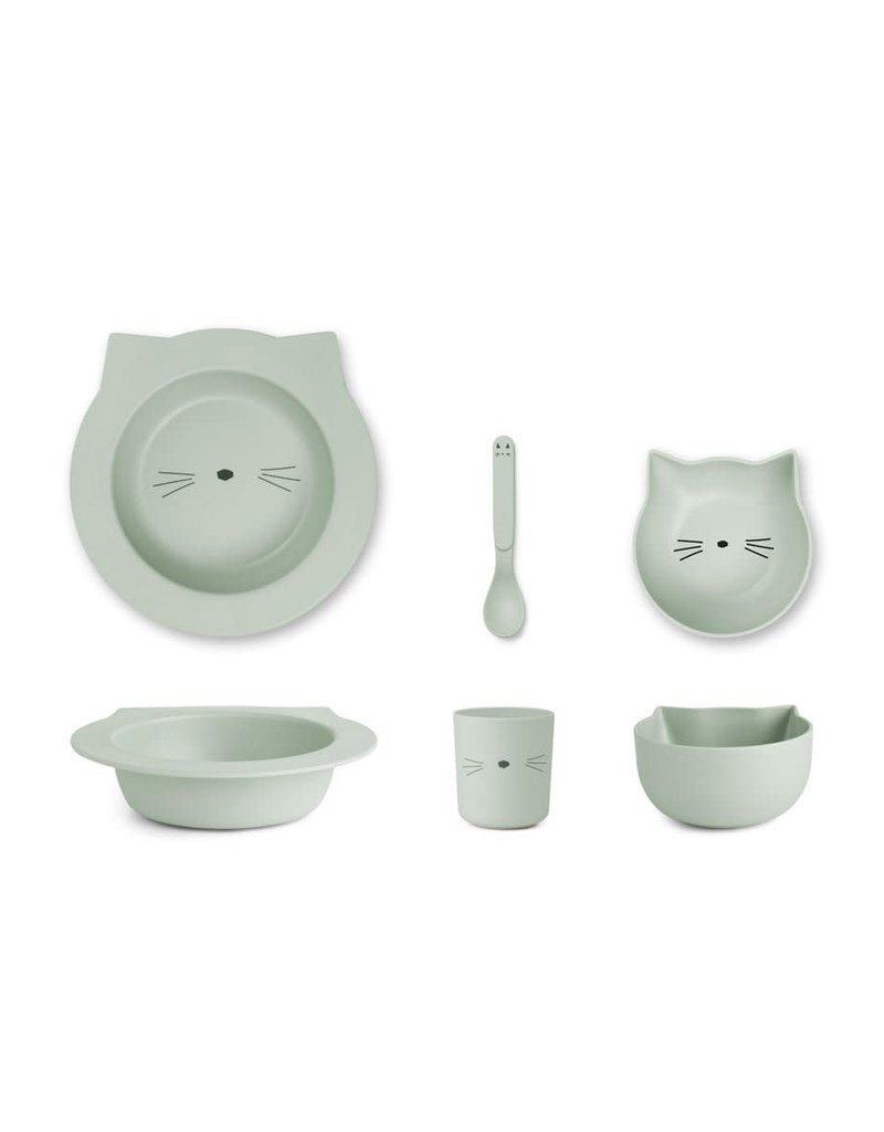 Liewood Barbara Bamboo Baby Set - Cat dusty mint